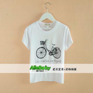 K12190 เสื้อยืดคอกลม เสื้อเด็ก ลายจักรยาน