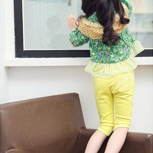 K13110 กางเกงเด็กผู้หญิง แต่งลูกไม้ครึ่งตัวด้านหน้า THEKIDSHOW