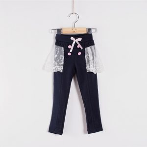 K1395 กางเกงขายาวติดกระโปรงผ้าลูกไม้ Huanzhukid