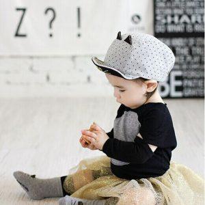 K21218 หมวกเด็กเล็กลายจุด ปัก Cute Cat