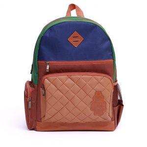 K2418 กระเป๋าเป้เด็ก ช่องซิ๊ปหน้าเป็นหนัง FLYROBOT