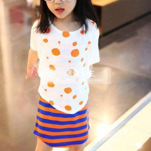 K1248 เสื้อยืดเด็กผู้หญิงปีกค้างคาว ลาย Dots