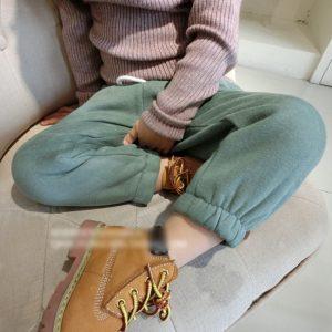 K13187 กางเกงกันหนาวเด็ก ผ้าสำลี สีพื้น จั้มปลายขา