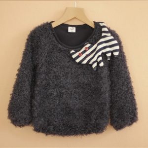 K19185 เสื้อกันหนาวเด็กผ้าขนนุ่มรุ่นหนา ติดตุ๊กตาผ้าลายแมว 3D พร้อมส่ง