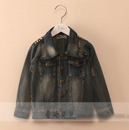 K19223 Jacket ยีนส์เด็กสกรีนลายหน้าผู้หญิงด้านหลัง เท่ๆ พร้อมส่ง
