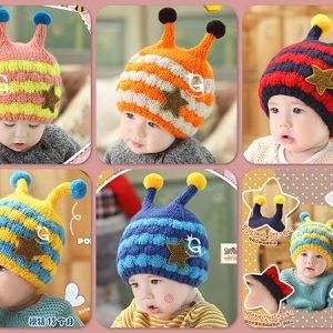 k21162 หมวกไหมพรมเด็กเล็ก รุ่นหนาสองชั้น ซับในขนแกะ Guangzhu Mama พร้อมส่ง