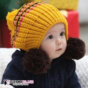 K2128 หมวกเด็ก หมวกไหมเด็กพรมสลับสี มีปอมๆก้อนใหญ่