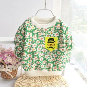 K19325 เสื้อสเว็ตเตอร์กันหนาวเด็กเล็ก ลายดอกไม้ พร้อมส่ง