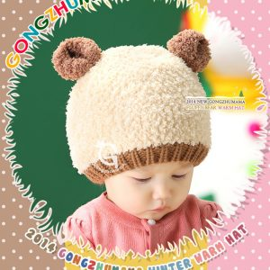 K21173 หมวกไหมพรมเด็กรุ่นหนาซับขนแกะ Guangzhumama