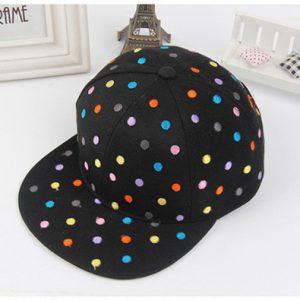 K21185 หมวกเด็ก ปักลายจุดหลายสี