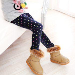 K13214 ลองจอนกันหนาวเด็ก กางเกงกันหนาวเด็ก ผ้ากำมะหยี่ ลายจุด