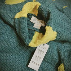 K19354 เสื้อกันหนาวไหมพรมเด็กเล็ก เสื้อคอเต่า PLACE