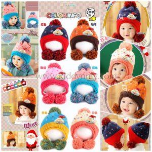 K21171 หมวกไหมพรมเด็กรุ่นหนาซับขนแกะ Guangzhu Mama (GZMM)