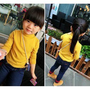 K12276 เสื้อคอเต่าเด็ก เสื้อแขนยาวเด็กสีพื้น เสื้อกันหนาวเด็ก