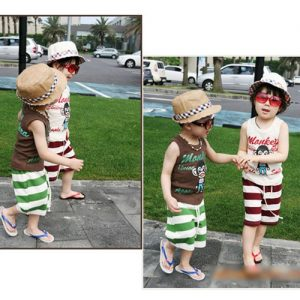 K185 ชุดเสื้อผ้าเด็กหลายชิ้น เสื้อกล้ามเด็ก + กางเกงขาสั้นเด็ก