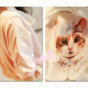 K12149 เสื้อเด็กผู้หญิงผ้าสองชั้น ลายแมว TheKidShow