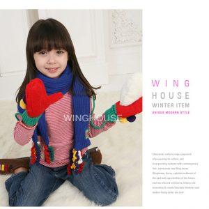K2341 ผ้าพันคอไหมพรมเด็ก ผ้าพันคอกันหนาว Wing House