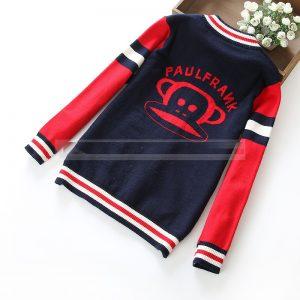 K19346 เสื้อกันหนาวเด็ก คาร์ดิแกนไหมพรม ลาย Paul Frank